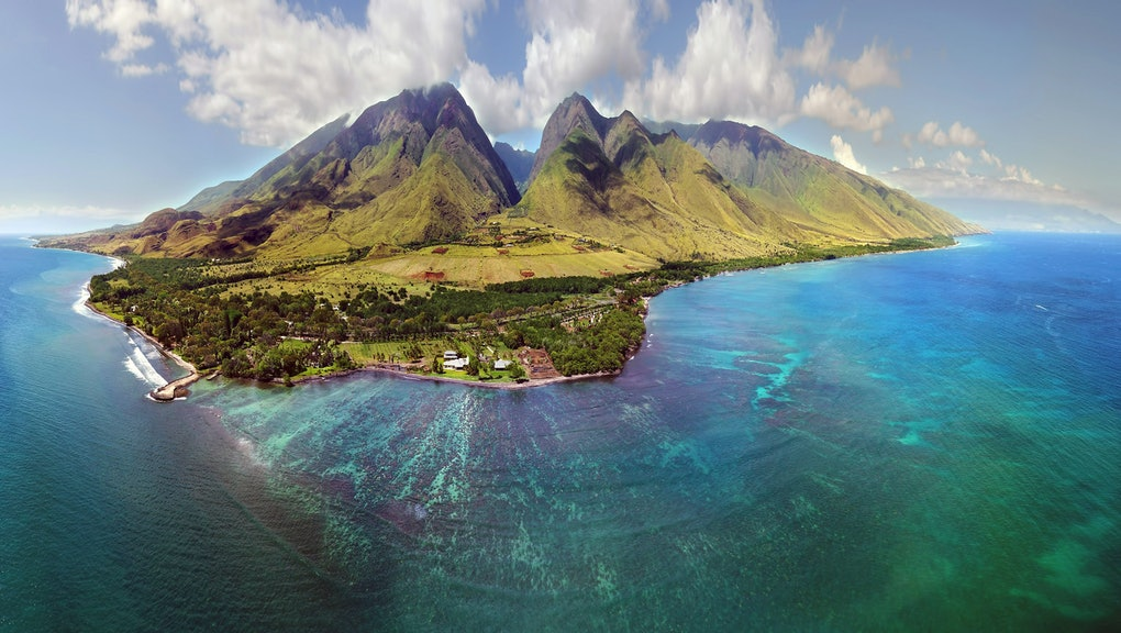 Island of Maui - Aerial Panorama - Showing Beautiful Sky, Mountains, and Ocean Reef