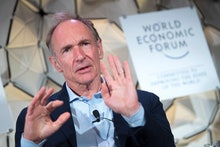Tim Berners-Lee, Director of World Wide Web Foundation, speaks during a panel session during the 49t...