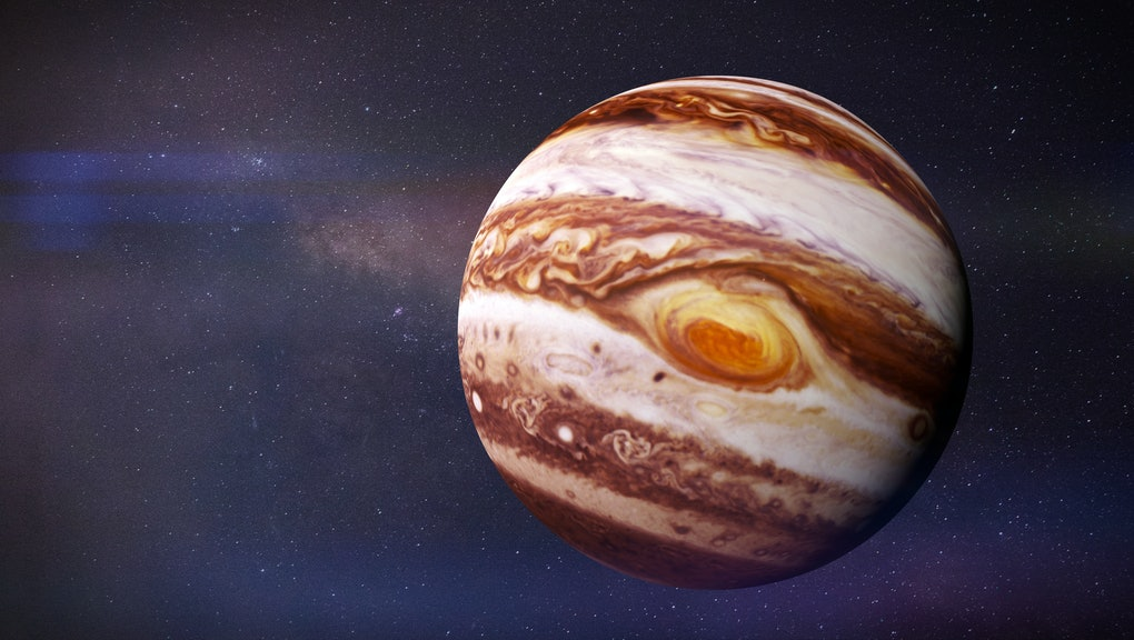 the planet Jupiter and stars of the galaxy (3d rendering, elements of this image are furnished by NASA)