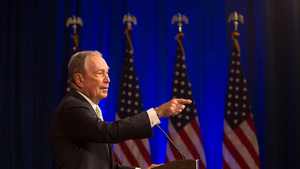Democratic Presidential candidate Michael Bloomberg answers media questions at the Hilton Hotel on his first campaign stop in Norfolk, Va