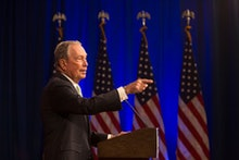 Democratic Presidential candidate Michael Bloomberg answers media questions at the Hilton Hotel on h...