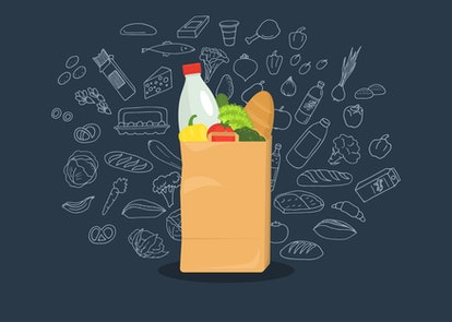 Paper bag full of groceries with sketches on dark blue background. Healthy food. Grocery store. Vect...