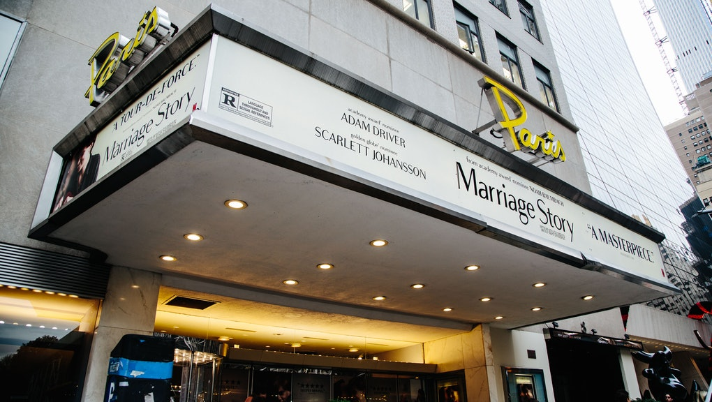 Outside view of the 'Paris Theatre' in New York, New York, USA, 27 November 2019. Netflix is signing a long-term lease for The Paris Theatre, a historic single-screen venue in New York City and plans on using it for theatrical releases.