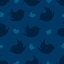 Seamless pattern from birds on a navy blue background. The Bullfinch Pattern