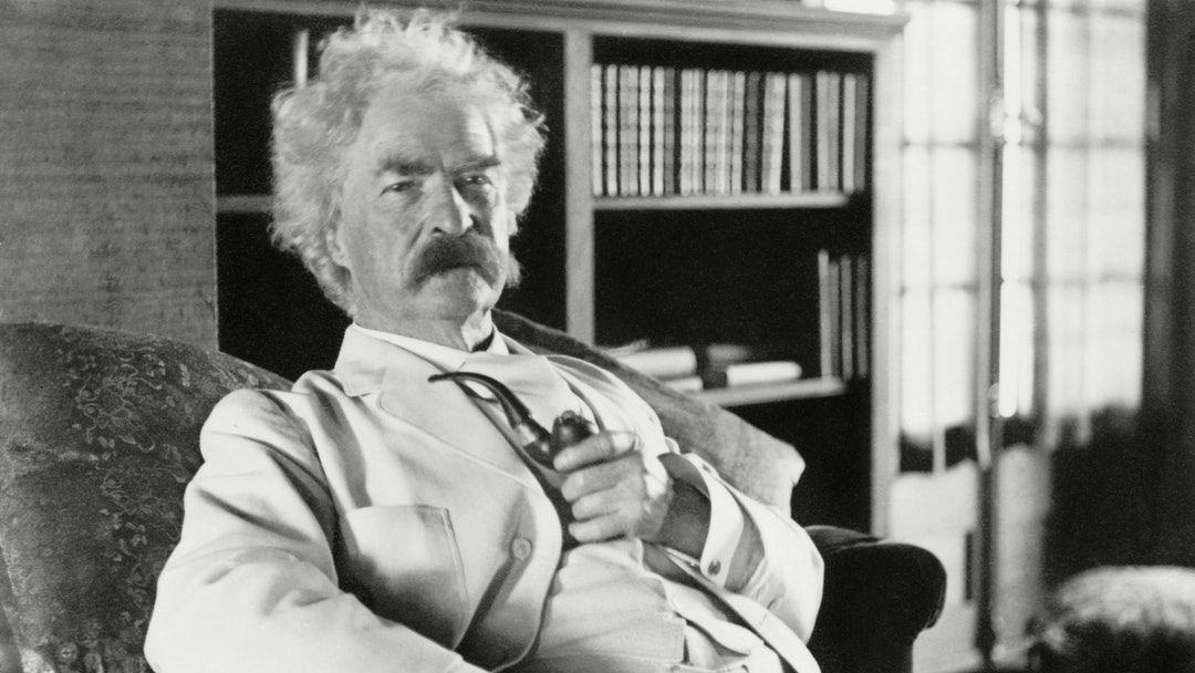 Mark Twain (aka Samuel Clemens), c. 1900-1910. He was partial to his white linen suits, and liked we...