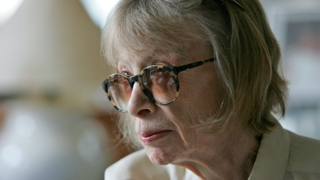 """Joan Didion Author Joan Didion considers a question in her New York apartment, while being interviewed for a short promotional film for David Halberstam's """"The Coldest Winter,"""" the final book by the Pulitzer Prize-winning journalist who was killed last spring in a California car accident"""