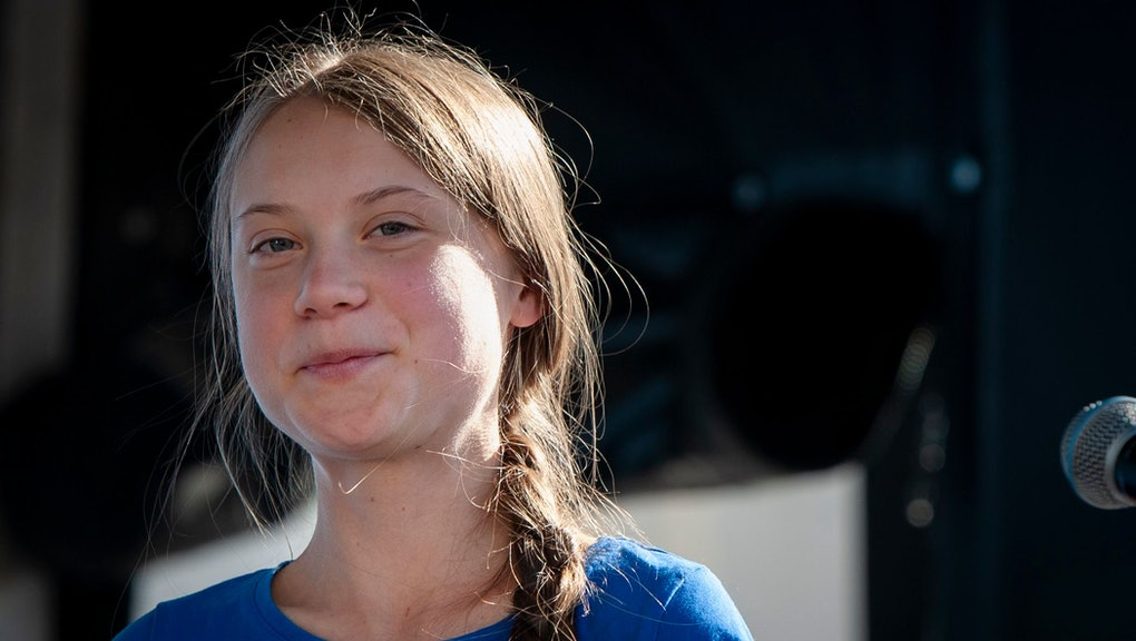 Greta Thunberg addresses the crowd at the Youth Climate Strike in Los Angeles, California, USA, 01 November 2019. Several hundred people gathered and marched through the streets to demand elected officials take action against the climate crisis.