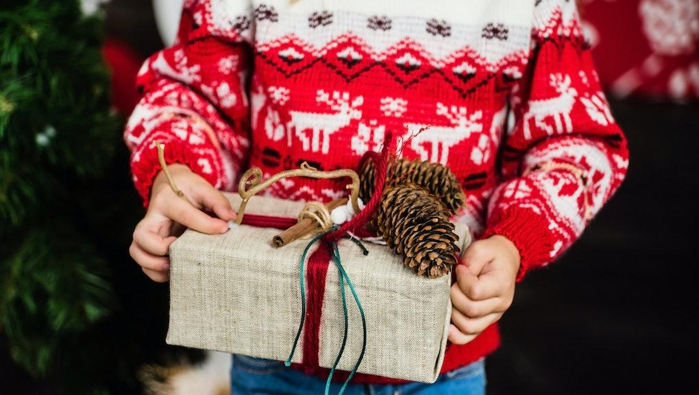 nice girl with Christmas present