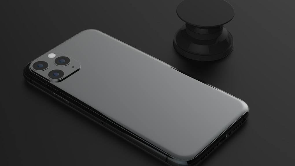 New Iphone 11 Pro Max. Smartphone mock with pop socket isolated on black background. Back side. Concept for app, web, presentation. 3d illustration