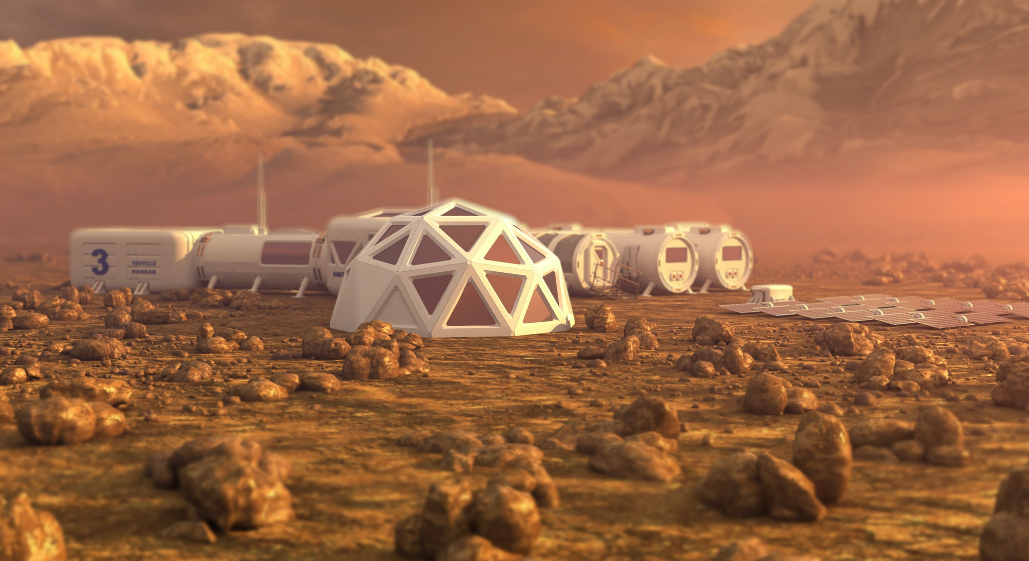 Mars planet satellite station orbit base martian colony space landscape. Elements of this image furnished by NASA.
