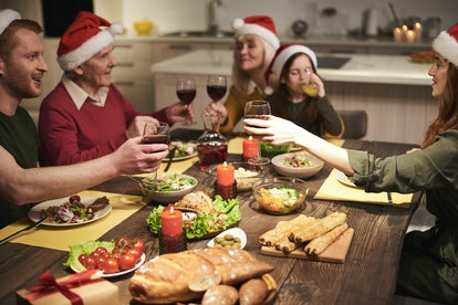 One family shares what they're grateful for before a holiday feast.