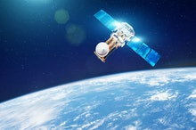Research, probing, monitoring of in atmosphere. Communications satellite in orbit above the surface ...