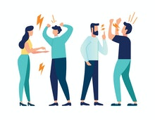 vector illustration design concept on white background. a set of a couple of people quarrel and swea...