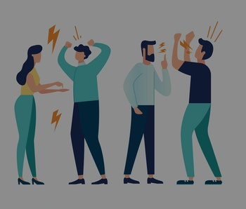 vector illustration design concept on white background. a set of a couple of people quarrel and swear. Aggressive people yell at each other. design graphics in a flat stylish style