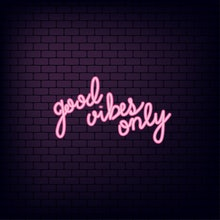 Good vibes only lettering, neon effect font