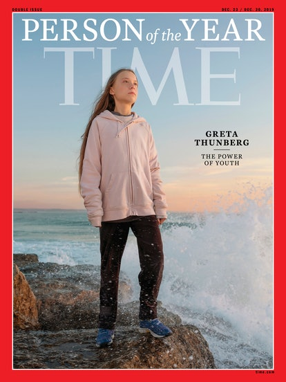 Handout image released by TIME Magazine showing Greta Thunberg on the cover as photographed by Evgen...