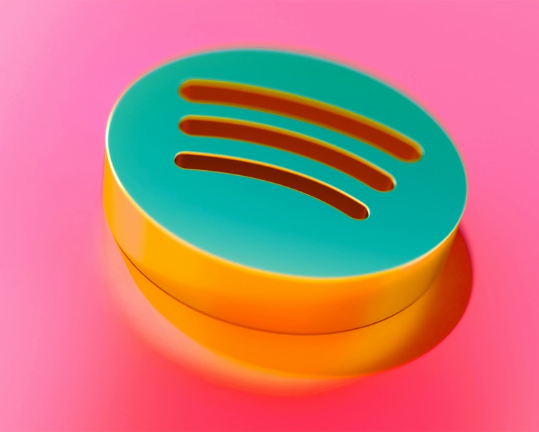 Gold Spotify Icon on Candy Style Pink Background With Focus. 3D Illustration of Audio, Audio Streaming, Music Icons for Presentation.