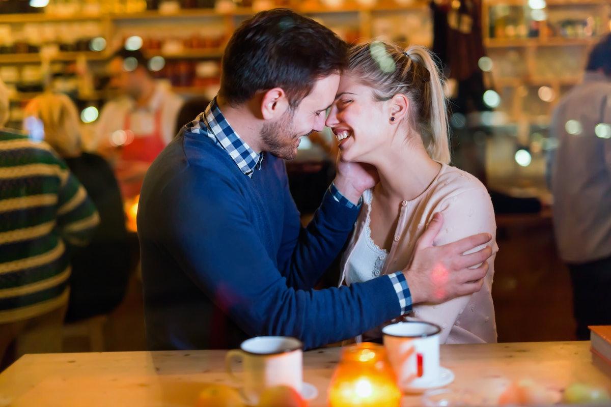 happy people in love kissing
