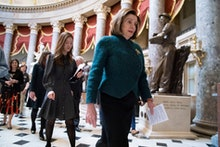 Speaker of the House Nancy Pelosi, D-Calif., walks to attend a health care event at the Capitol in W...