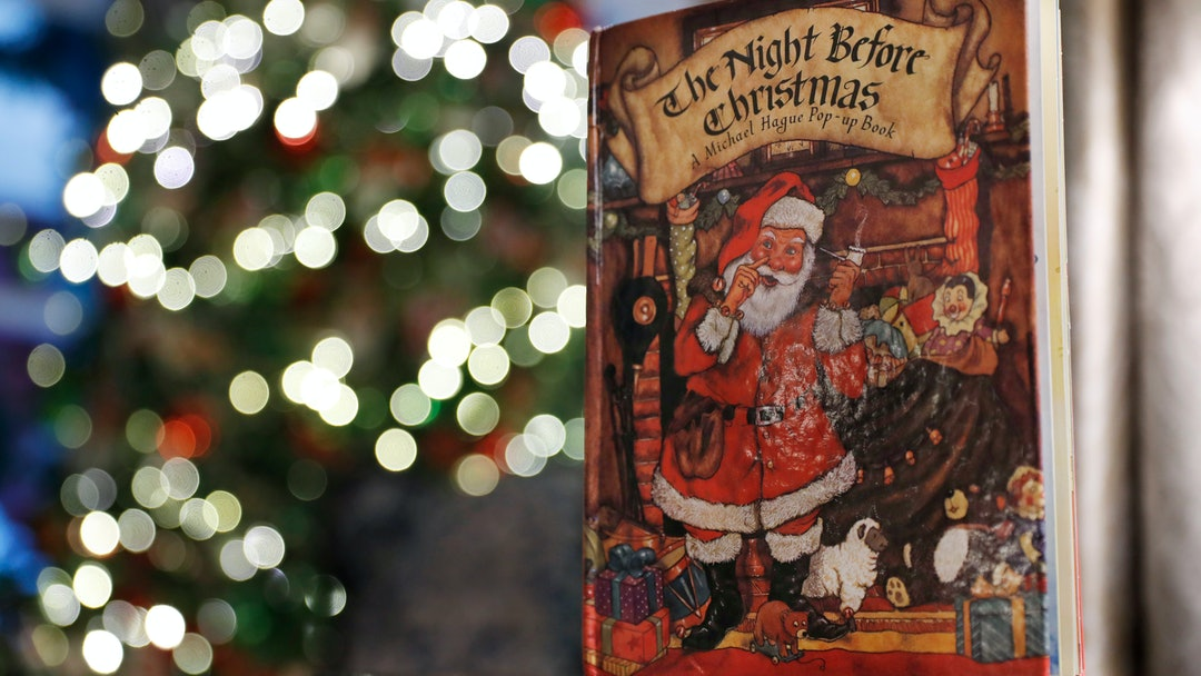 """Christmas holiday decorations at the Vice President's residence include the book, """"The Night Before Christmas,"""", in Washington"""