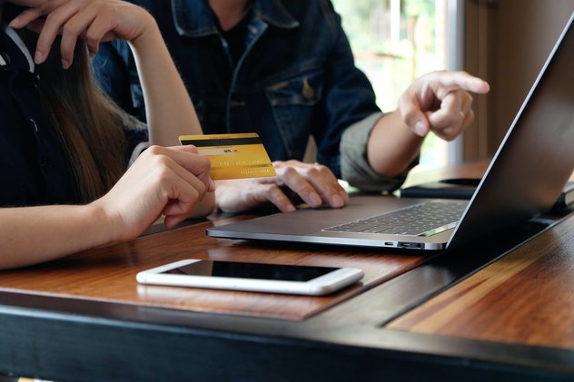 Using a credit card to make online purchases