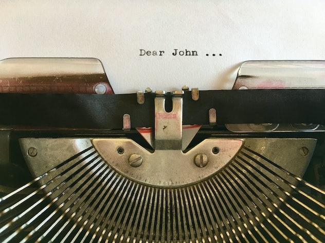Dear John; text typed on white paper in vintage manual typewriter. Dear John letter