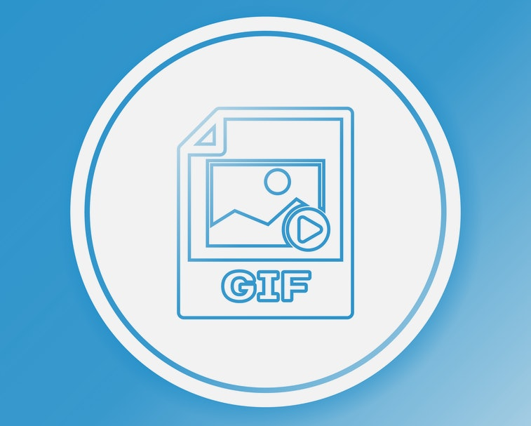 Color GIF file document icon. Download gif button line icon isolated on color background. GIF file symbol. Circle white button. Vector Illustration
