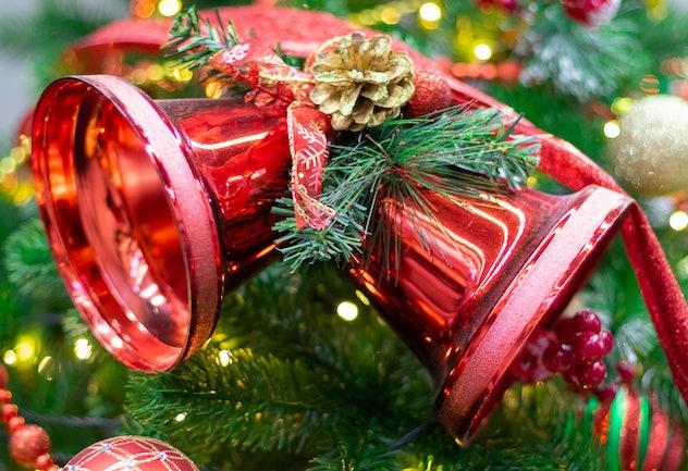 Christmas bells on the Christmas tree. Close up.