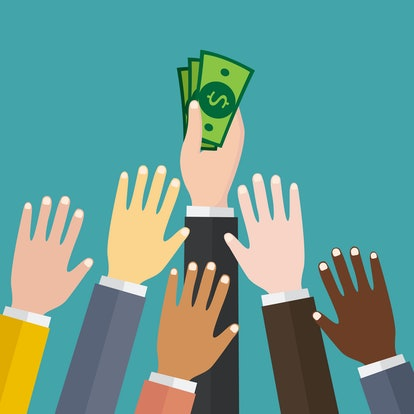 Hand holding pile of cash money. Award, victory, champion achievement. Vector illustration in flat s...