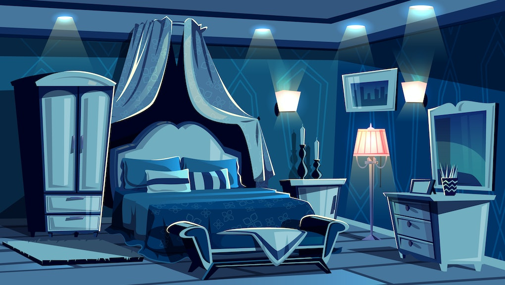 Night bedroom with lamps light illumination vector illustration. Vintage or modern comfortable cozy hotel or luxury apartment room interior, bed canopy or blanket, carpet and sconces on walls