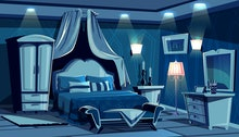 Night bedroom with lamps light illumination vector illustration. Vintage or modern comfortable cozy ...