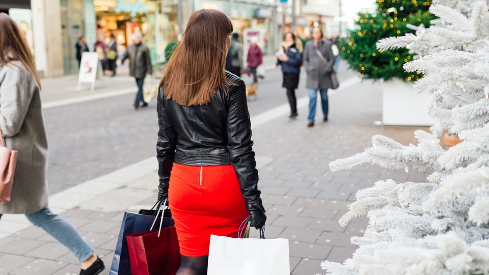 Woman Christmas shopping