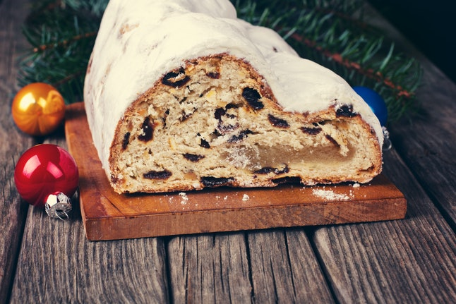 Christmas stollen on cutting board