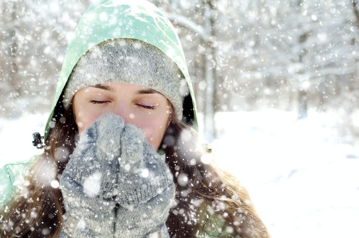 young woman in winter outdoors
