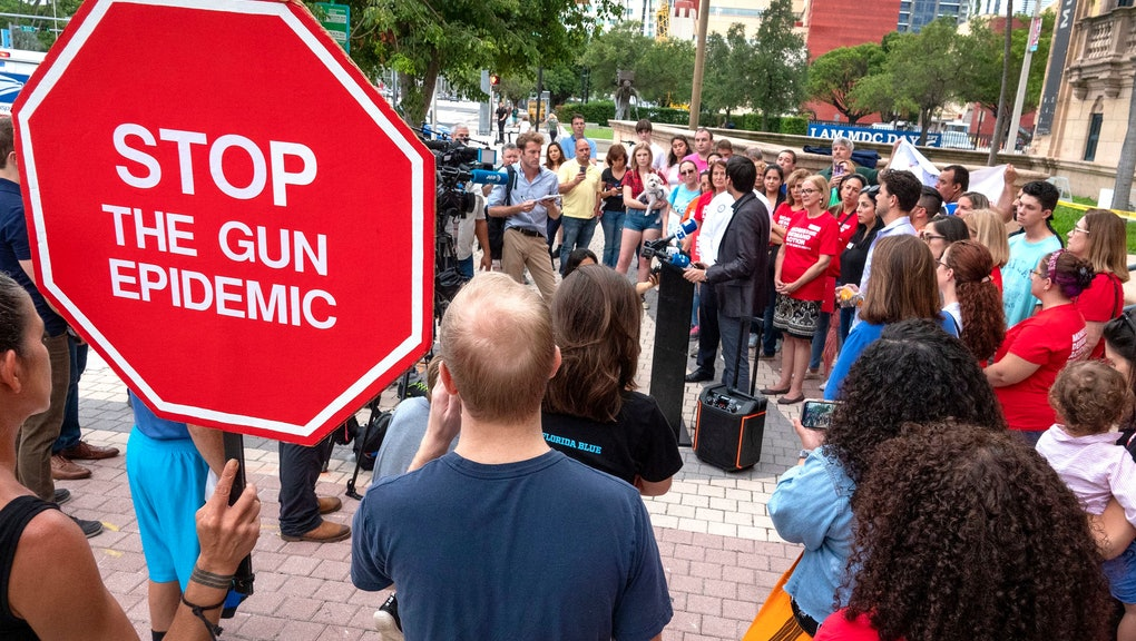 Activist opposed to gun violence attend a demonstration to honor the victims of the El Paso and Dayton mass shoots, and to protest inaction on gun control, in front of the Freedom Tower in Miami, Florida, USA, 06 August 2019.