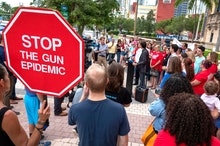 Activist opposed to gun violence attend a demonstration to honor the victims of the El Paso and Dayt...
