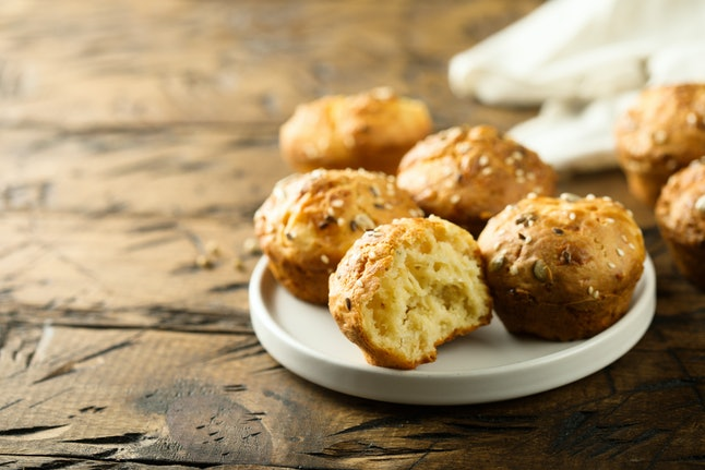 Homemade savory muffins with cheese