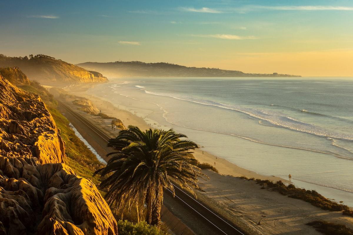 Sunset and marine layer at the Terry Pine beach, San Diego California, facing La Jolla city