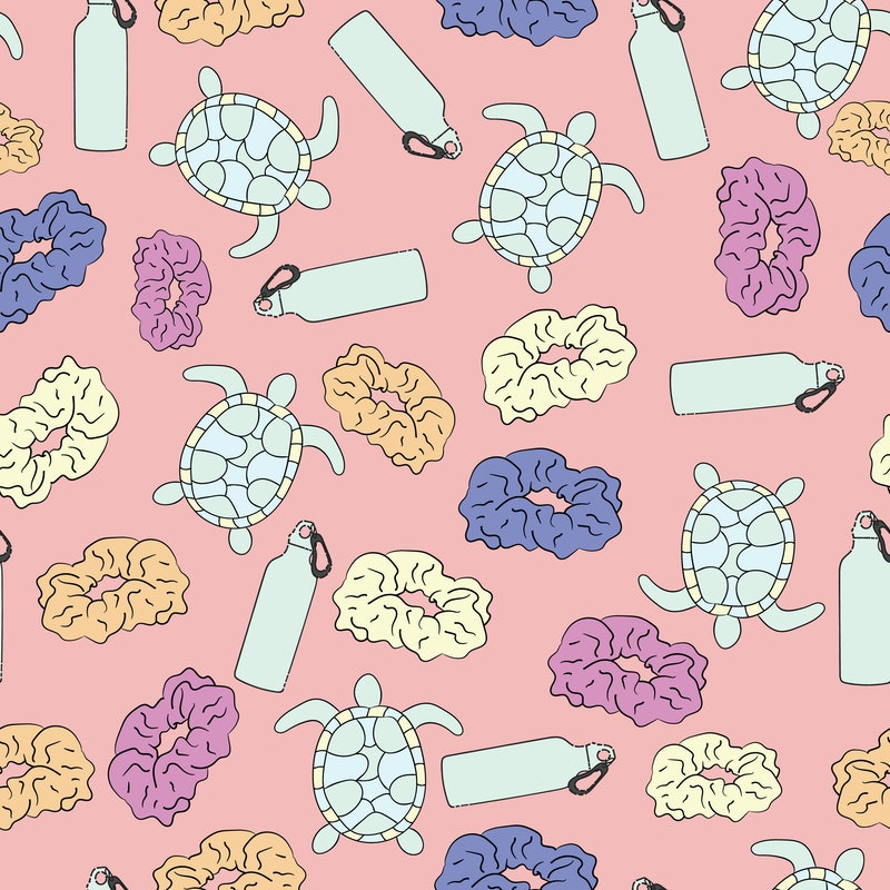 And I Oop Meme Seamless Pattern background with sea turtles, scrunchies and water bottles. Trendy and hip pastel rainbow aesthetic for vsco girls