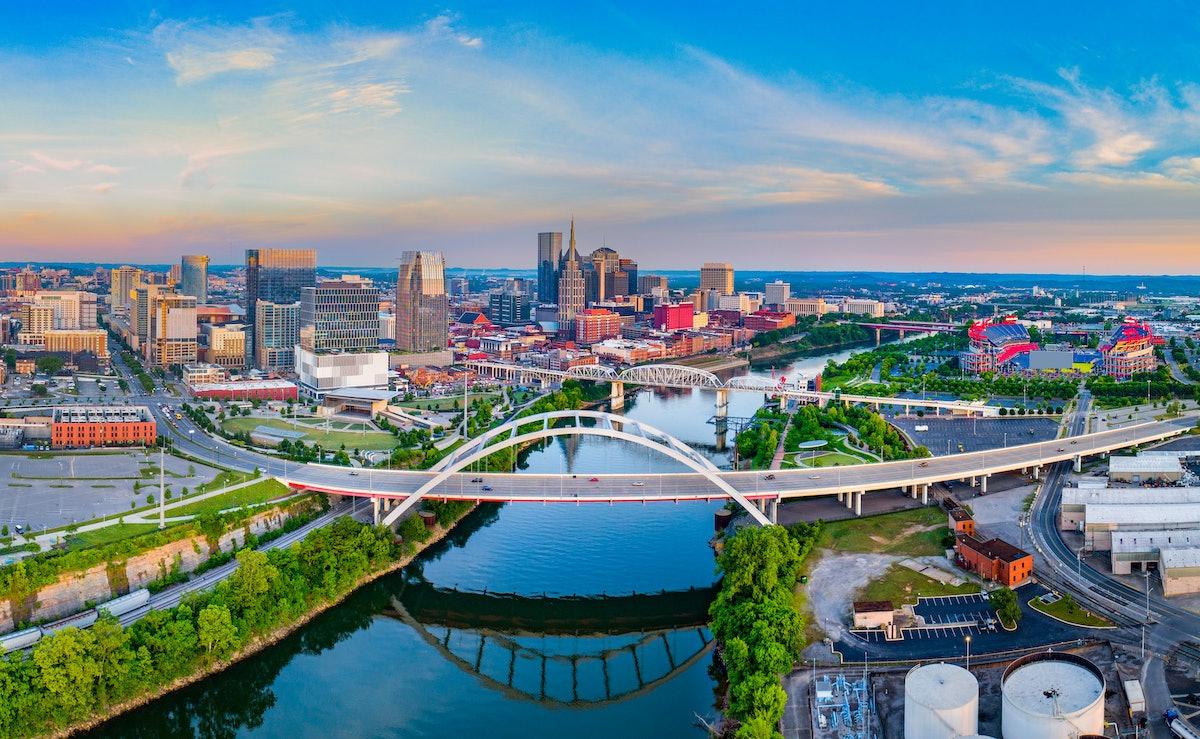Nashville Tennessee TN Drone Skyline Aerial Panorama.
