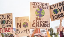 Group of demonstrators on road, young people from different culture and race fight for climate chang...