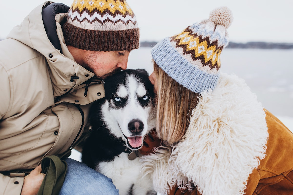 A stylish couple kisses their husky while hanging out by a lake in the middle of winter.