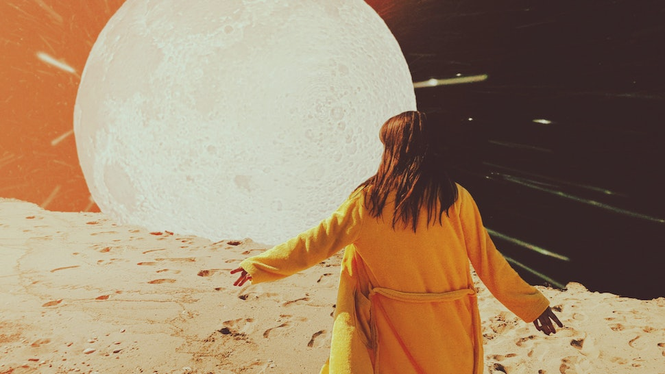Creative collage with woman going to the Moon. Art design for apparel or poster