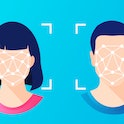 Face ID, facial recognition, biometric identification, personal verification, cyber protection, identity detection AI algorithms. Woman & man faces scanning. Secure technology system for web, mobile.