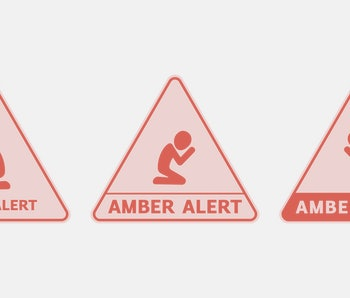 AMBER Alert additional symbol for child abduction warning. Vector set of a yellow street signs with a black pictogram of kid who sits on his knees and cries. Triangular sticker to call for volunteers.