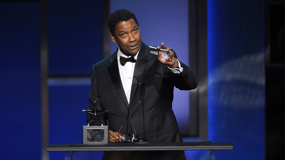 Denzel Washington addresses the audience during the 47th AFI Life Achievement Award ceremony honoring him at the Dolby Theatre, in Los Angeles