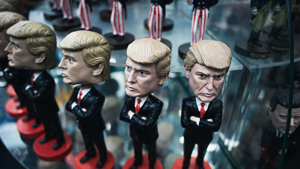 Donald Trump doll display, souvenir for travelers