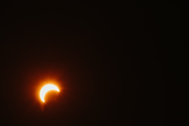 Wankaner, Gujarat, India, view of the partial solar eclipse.
