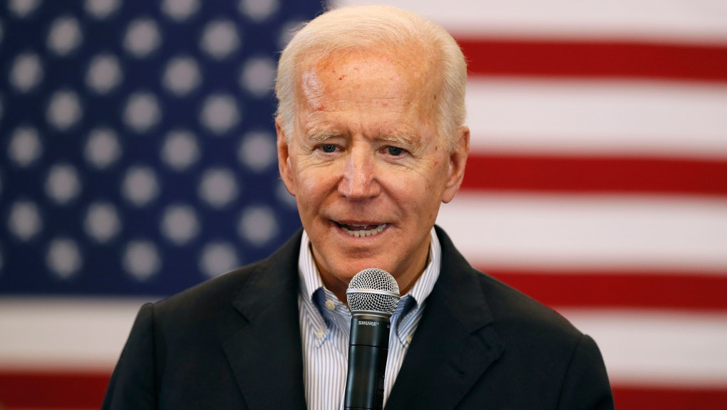 Democratic presidential candidate former U.S. Vice President Joe Biden speaks to local residents during a bus tour stop at Water's Edge Nature Center, in Algona, Iowa