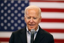 Democratic presidential candidate former U.S. Vice President Joe Biden speaks to local residents dur...